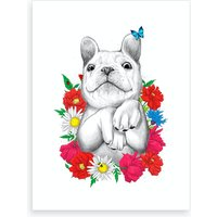 Dog In Flowers Art Print