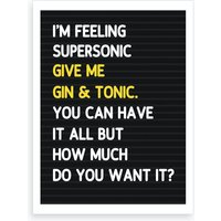 Super Sonic Letterboard Style Art Print