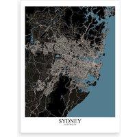 Sydney Black Blue Map Art Print