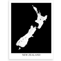 New Zealand White Black Map Art Print