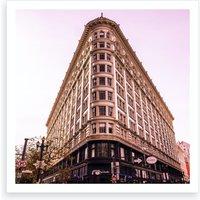 Pink Phelan Building Square Art Print