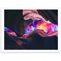 Grand Canyon with Colorful Space Collage Art Print