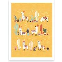 Happy Llama With Cactus In A Pot Art Print