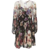 Degrade Dress Crew Neck Flowers Printing
