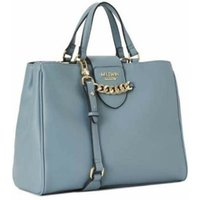 Faux leather tote with chain detail closure