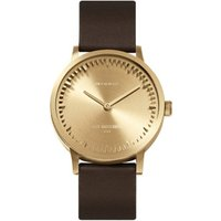 Tube watch T32 brass-brown leather strap