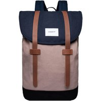 Sandqvist Stig Large Backpack multi navy- earth brown- black with cognac leather