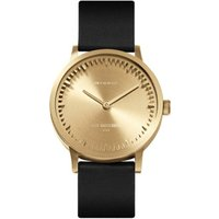 Tube watch T32 brass-black leather strap