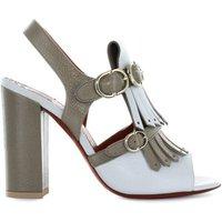 Bicolored Fringe Heeled Sandal