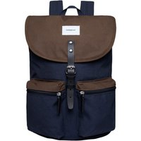 Sandqvist Roald Backpack multi navy-olive with black leather