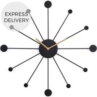 Product photograph showing Sputnik Large Wall Clock Black