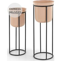 Product photograph showing Looca Set Of Two Metal Plant Stands Light Pink