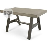 Product photograph showing Edson Garden Dining Table Cement And Metal