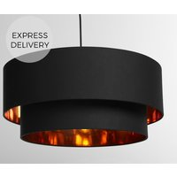 Oro Layered Pendant Drum Lamp Shade  Black and  Copper