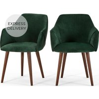 Product photograph showing Set Of 2 Lule Carver Dining Chairs Pine Green Velvet And Walnut