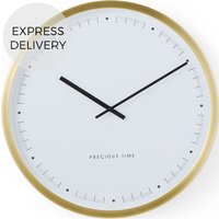 Product photograph showing Aurelia Large Wall Clock Brushed Brass