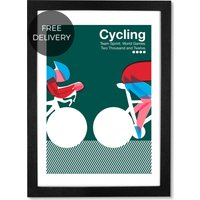 Cycling, 59 x 84 cm (A1) Framed Wall Art Print