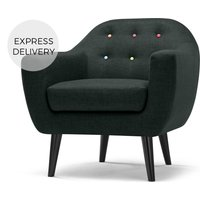 Ritchie Armchair, Anthracite Grey with Rainbow Buttons