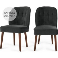 Product photograph showing Set Of 2 Margot Dining Chairs Midnight Grey Velvet