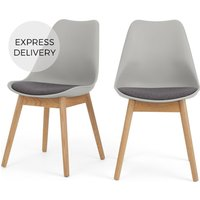 Product photograph showing Set Of 2 Thelma Dining Chairs Oak And Tonal Grey Fabric