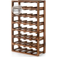 Product photograph showing Clover Acacia Wood Extra Large 28 Bottle Wine Rack Natural