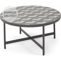 Product photograph showing Indra Garden Coffee Table Grey And White Marble