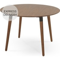 Product photograph showing Edelweiss 4 Seat Round Dining Table Walnut And Black