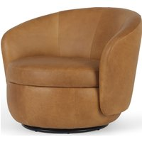 Delores Swivel Accent Chair, Pecan Brown Leather