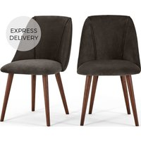 Product photograph showing Set Of 2 Lule Dining Chairs Otter Grey Velvet