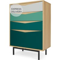 Louis Tall Chest Of Drawers, Oak & Green