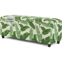Product photograph showing Burcot Upholstered Storage Bench Leaf Print