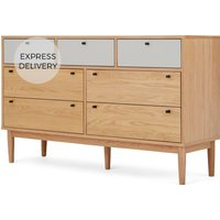 Campton Wide Multi Chest of Drawers, Oak & Grey