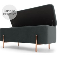 Product photograph showing Asare Upholstered Storage Bench Midnight Grey Velvet Copper