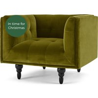 Connor Armchair, Olive Cotton Velvet