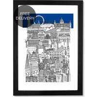 London Blue, 59 x 84 cm (A1) Framed Wall Art Print