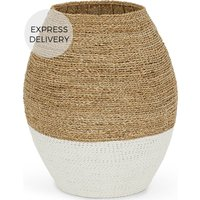 Soller Seagrass Laundry Basket, White