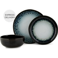 Product photograph showing Niva 12 Piece Reactive Glaze Dinner Set Midnight Ombre
