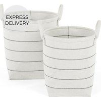 Product photograph showing Millon Stripe Felt Set Of 2 Laundry Baskets Off White