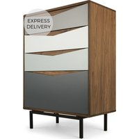 Louis Tall Chest Of Drawers, Walnut and Charcoal