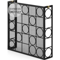 Thoros 3 Panelled Fire Guard Screen, Black