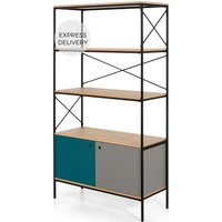 Arris Shelving Unit, Oak and Blue