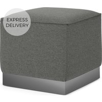Product photograph showing Hetherington Square Pouffe Coventry Grey With Nickel Base