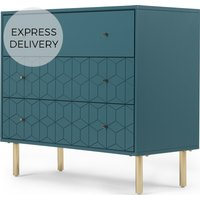Hedra Chest Of Drawers, Blue and Brass