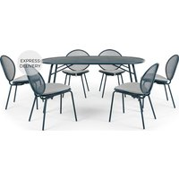 Product photograph showing Toluka Garden 6 Seat Dining Table Set Dark Blue