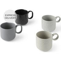 Product photograph showing Omie Speckled Glaze Set Of 4 Mugs Tonal Grey