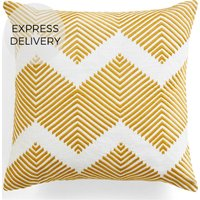 Product photograph showing Ryker Embroidered Cushion 45 X 45 Cm Ochre