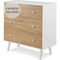 Product photograph showing Made Essentials Larsen Chest Of Drawers Oak Effect And White