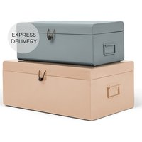 Daven Set of 2 Metal Storage Box Trunks, Pink & Grey