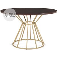 Product photograph showing Khalida 4 Seat Round Dining Table Dark Mango Wood And Brass