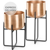 Product photograph showing Salix Set Of Two Plant Stands Copper